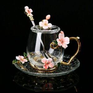 Enamel Flower Glass Cup Mug For Coffee Tea With Spoon Home Wedding Drinkware Set