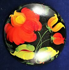 Russian Hohloma Box Wooden Hand Painted Khokhloma Lacquered Vintage Floral Black