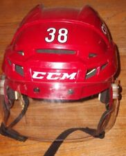 ARIZONA COYOTES Lucas Lessio game-worn red home #38 CCM helmet used in 2014-2015