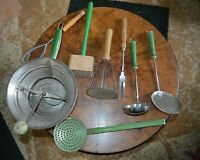 French Classic 1930's Green, metal and enamel Kitchenware utensils