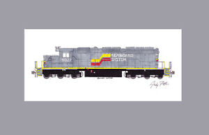 """Seaboard System SD40-2 #8027 11""""x17"""" Matted Print Andy Fletcher signed"""