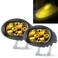 """2Pcs 4"""" LED Work Light Spot Offroad Pods Yellow Driving Fog Lamps Trucks ATV UTV"""