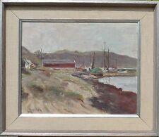 Carl Oscar larsson 1887-1992 puerto pequeño con barcos pesqueros-costa del mar Báltico