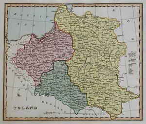 Kingdom of Poland Galicia Prussia Lithuania Warsaw 1823 scarce Ellis map