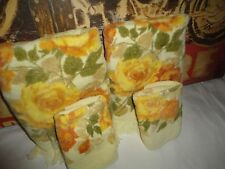 VINTAGE CANNON YELLOW AMBER ROSES (4PC) BATH TOWELS & WASHCLOTHS