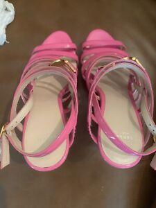Versace Hot Pink / Gold Wedges Signature Medusa Head High Heel patent Size 38.5