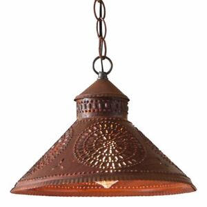 Stockbridge Shade Hanging Light with Chisel in Rustic Tin