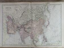 1884 Asia Original Antique Colour Map by Edward Weller