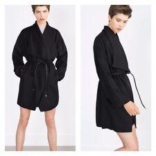 Zara Black Waterfall Handmade Wool Coat With Belt Size M - MEDIUM - UK 10 - BNWT