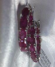 5 Ct, Natural, Burmese Ruby Hoop Earrings Clasp, Rhodium Plated Sterling Silver