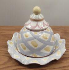 "Mackenzie Childs Aalsmeer ceramic 12"" service plate platter + dome lid"