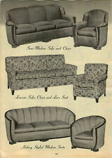1947 PAPER AD Lawson Brand Sofa Chair Kidney Styled Modern Suite