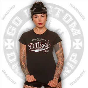 Dragstrip Clothing Girl T`shirt  tattoo Dilligaf  Biker Lucky 13  hotrod t`shirt