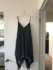 Fringe Skinny Strap Swing Dress with Aztec Design NWT