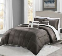 New True North Mink to Sherpa Comforter - 5 Pc Set - King Size in Brown