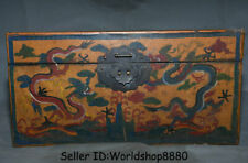"13.8"" Old China Dynasty Wood Lacquerware Painting Dragon Storage Box container"