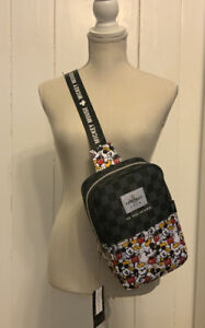 Loungefly Disney Mickey Mouse Black Checkered Sling Body Bag Mini Backpack Purse
