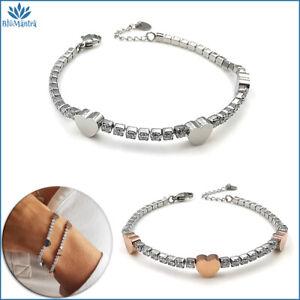 Bracciale da donna tennis cuore in acciaio inox braccialetto zirconi regalo per