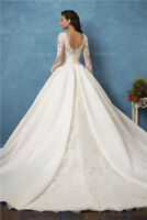 Wedding Dresses Elegant Long Sleeve Lace Satin Custom Made Size Bridal Gowns
