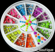 Neon Color Rivet Nail Art Decoration Square Round Metal Studs Rhinestone Gems