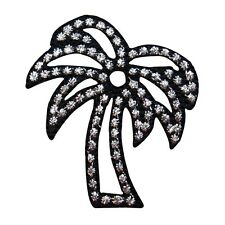 ID 1724A Shiny Palm Tree Metallic Thread Embroidered Iron On Applique Patch