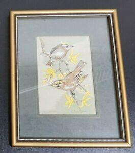 "VINTAGE CASHA WOVEN PICTURES FRAMED PICTURE : GOLD CREST 7.5"" X 6"""