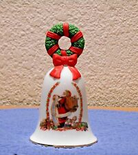 Avon Collectible Bell 1995 with Wreath on Top Red Ribbon and Santa Reading List