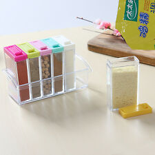 6pcs Transparent Spice Jar Set Condiment Box Spices Storage Seasoning Boxes