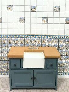 Dollhouse Miniature  Empty Wooden Blue Pine  Kitchen Sink  Faucet