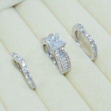 Size 6 Fashion Diamonique CZ White Gold Filled Engagement Wedding Ring Set