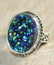 SILVER Vintage Style Blue Green Rainbow Titanium Druzy Oval Ring Size 6, WR11110