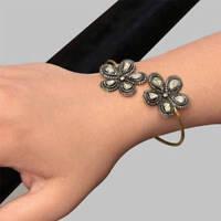 Natural Pave Diamond Polki 18k Gold & 925 Sterling Silver Bangle Bracelet