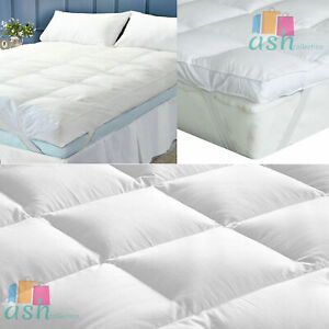 "4"" Inch Microfiber Mattress Topper Deep Luxury Soft Hotel Quality All Sizes 10cm"