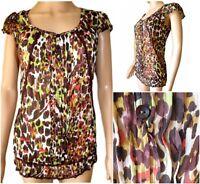 New Ex Per Una Ladies Animal Print Chiffon Short Sleeve Casual Top Size 16