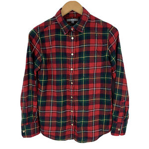 Uniqlo Womens Button Shirt Flannel Medium Red Plaid Long Sleeve Collared