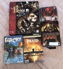 PC CD ROM Computer Games (Lot Of 5) Braid, FarCry, Doom 3, The 11th Hour, More
