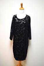 GARNET HILL Black Semi Sheer Cut Velvet Popover Sheath Long Sleeve Dress Size 12