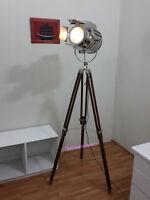 ROYAL DESIGNER NAUTICAL CHROME SPOT LIGHT TRIPOD FLOOR LAMP SEARCHLIGHT LAMP