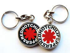 More details for red hot chili peppers american rock band chrome keyring picture both sides