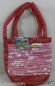 """PINK SEQUIN 5"""" X 6"""" GIFT BAG SEWN FOAM LINED STRAPS EASTER BAGS"""