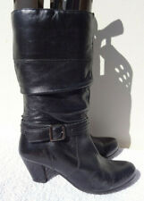 BHS Vintage Black Leather Slouch Boots Heel UK 6 39