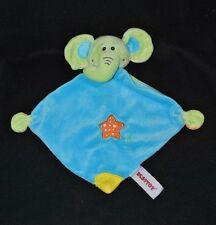 Peluche doudou éléphant plat BESTTOY bleu vert étoile dentition grelot TTBE