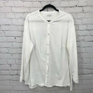 Eileen Fisher Button Up Shirt Womens 2X White Long Sleeve Cotton B7*