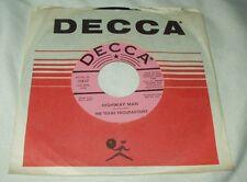 THE TEXAS TROUBADOURS Highway Man/Leon's Guitar Boogie 45 Promo Decca Country