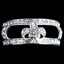 Fleur de Lis _RING GUARD / JACKET_ALL CLEAR CZ _SZ-6_NF - 925 STERLING SILVER