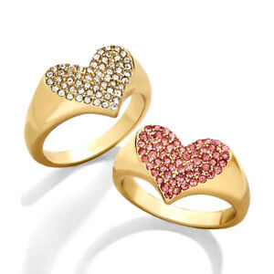 Gemma Love Heart Pinky Ring Decidedly Chic Statement CZ Crystal Unique Jewelry