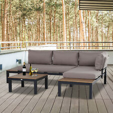 More details for outsunny 3 pcs garden outdoor sectional corner sofa lounge and coffee table set