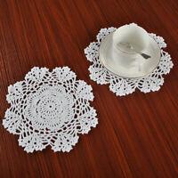 """4Pcs/Lot White Vintage Cotton Hand Crochet Lace Doily Doilies Round Wedding 7.8"""""""