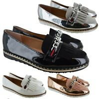 LADIES WOMENS FLAT HEEL BUCKLE DESIGNER LOAFER OFFICE WORK SMART PUMPS SHOES SZ