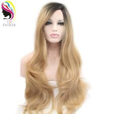24'' Lace Front Wigs Synthetic Ombre Nature Curly Weave Full Head Wig Hairpiece